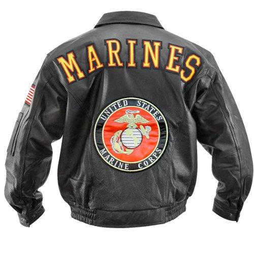 USA Leather Marines Mens Black Leather Jacket - (Black Leather Marines Logo Jacket)