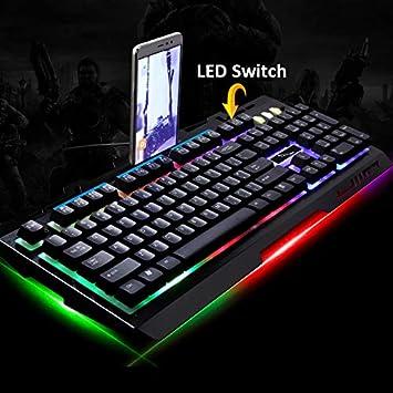 Lanker Teclados Cableados para Gamers - con RGB LED Retroiluminado, Panel De Metal y Soporte para Teléfono Celular para PC y Portátiles Gamers, Negro