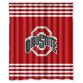 Image Unavailable Not Available For Color Custom NCAA Ohio State Buckeyes Waterproof Polyester Shower Curtain 60x72