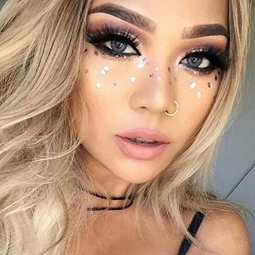 Yuccer Face Sticker, Glitter Freckle Tattoos Metallic Temporary Tattoos Festival Actress Dancer Make Up Accessories Bohemia Style Gold (F16)