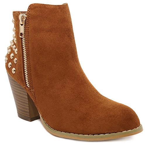 (Charles Albert Women's Studded Ankle Booties - Gold Stud Fashion Side Zip Boot (8, Cognac))