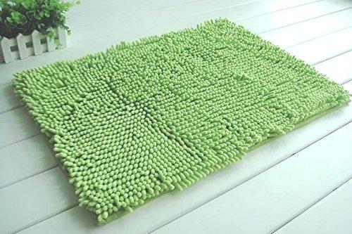 2 Piece High Top Ultra Soft Microfiber Chenille Bath Mat set Made with 100% Microfiber. (Lime Green ) (Lime Green Bath Mat Set)