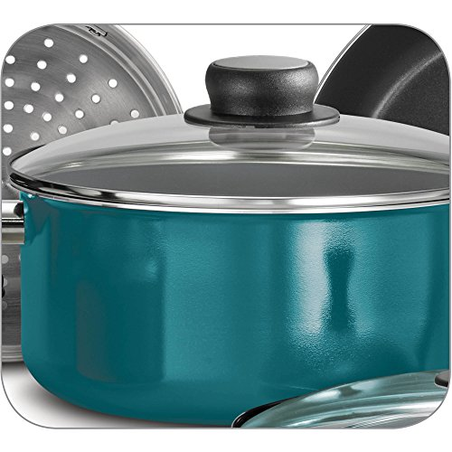 15-Piece Blue Teflon Coated Heat and Shatter Resistant Nonstick Cookware Set by Tramontina USA, Inc. (Image #3)
