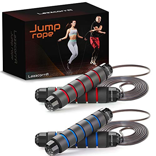 Jump rope, 2 Pack Speed Jumping Ropes for Workout, Fitness and Gym Exercise – Adjustable Skipping Rope Set for Kids and…