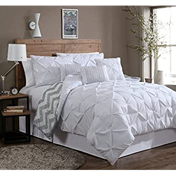 bedding pleat com pinch piece all comforter pleated amazon ac comfy double durable sets pintuck needle season stitching dp set