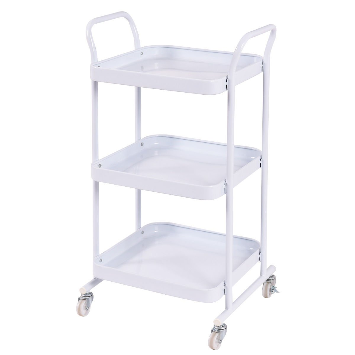 3 Tier Kitchen Island Serving Cart, Sturdy Steel Construction, 2 Lockable Casters, Functional, Suitable Dining Room, Catering, White Color + Expert Guide