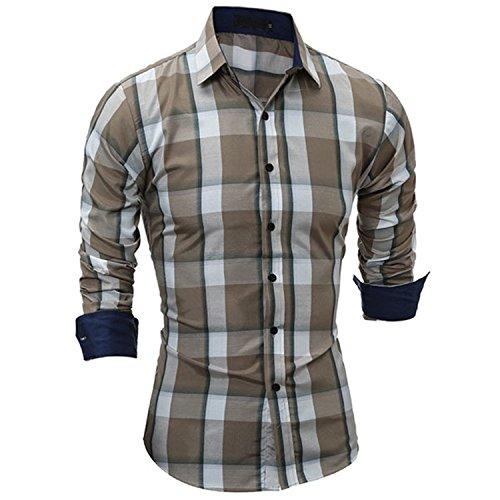 Mainstream Slim New Classic Large Plaid Shirts Mens Dress Shirts Long Sleeve Slim Fit Casual Man Chemise Homme Cool ()