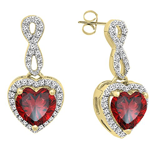 Dazzlingrock Collection 18K 6 MM Each Heart Garnet & Round Diamond Ladies Swirl Dangling Drop Earrings, Yellow ()