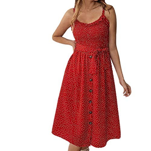(Fashion Women's Dresses Summer Casual Dress Printed Polka Dot Skirts Ruffled Buttoned Vest Off the Shoulder Cotton Tops)