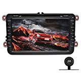 YINUO 1024*600 Android 4.4.4 8 inch Car DVD GPS Stereo for VW Magotan/Golf/Polo/Leon In Dash Navigation Receiver with Touchscreen support SWC/OBD2/DVR/AV-IN with Free Mic & 8GB Map Card,+Backup Camera