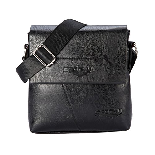 Price comparison product image GBSELL Men Fashion PU Leather Business Handbag Shoulder Bag Tote Flap Bag Chest Bag (Black)