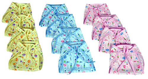 PEUBUD ® Printed Cotton Cloth U Shape Nappies/Diapers/Langots/Nappy for New Born Baby Washable and Reusable (0-6 Months -Pack of 12)