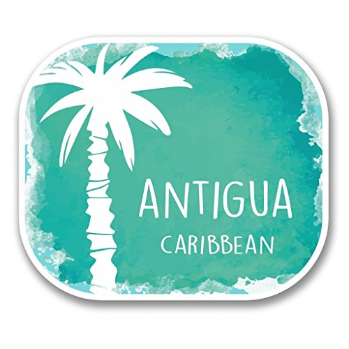 2 x 10cm/100mm Antigua Caribbean Vinyl SELF ADHESIVE STICKER Decal Laptop Travel Luggage Car iPad Sign Fun #6355