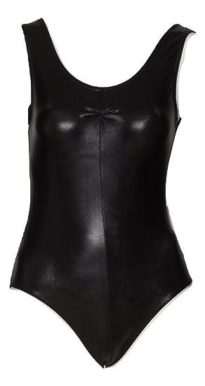 KDC026 Black Shiny Metallic Sleeveless Leotard Dance Fancy Dress Halloween Katz