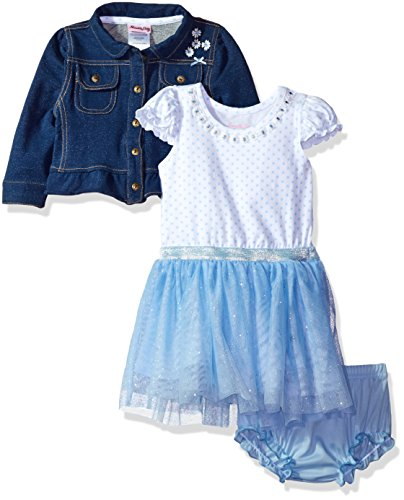 Dress Dot Glitter (Nannette Baby Girls' Glitter Dot Mesh Dress and Knit Jacket Set, Blue, 18M)