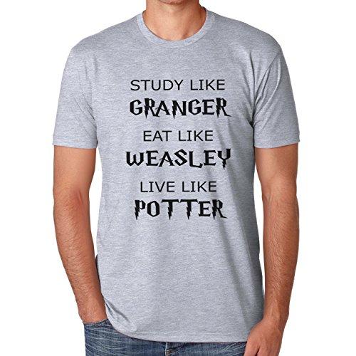 Study Like Granger Eat Like Weasley Live Like Harry Potter Herren T-Shirt