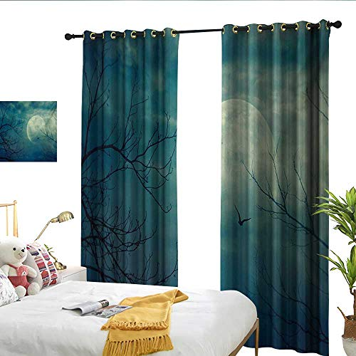 Horror House Decor Curtains Halloween with Full Moon in Sky and Dead Tree Branches Evil Haunted Forest Print for Living, Dining, Bedroom (Pair) W108 x L84 ()
