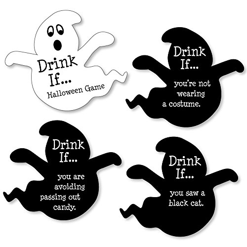 Halloween Drinking Games (Drink If Game - Happy Halloween - Halloween Party Game - 24 Count)