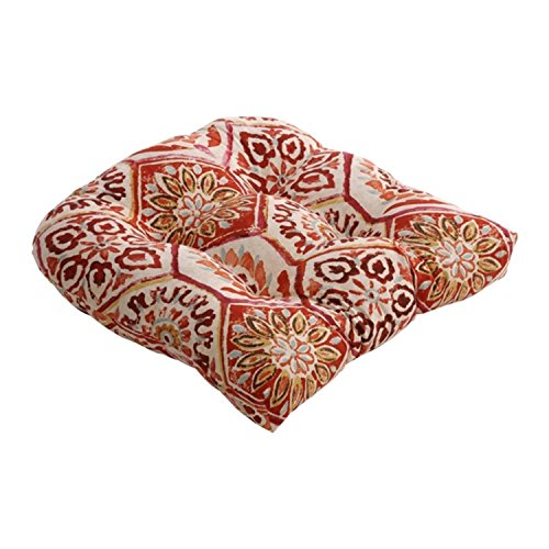 Summer Breeze Crimson Red Radial Tile Pattern Cotton Chair Cushion 19