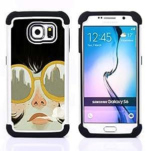 - smoking city sunglasses fashion/ H??brido 3in1 Deluxe Impreso duro Soft Alto Impacto caja de la armadura Defender - SHIMIN CAO - For Samsung Galaxy S6 G9200
