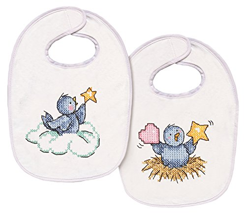 Tobin T21768 Balloon Ride Bib Pair Stamped Cross Stitch Kit, 7-1/2 by 11-Inch, Set of 2 Counted Cross Stitch Baby Bibs