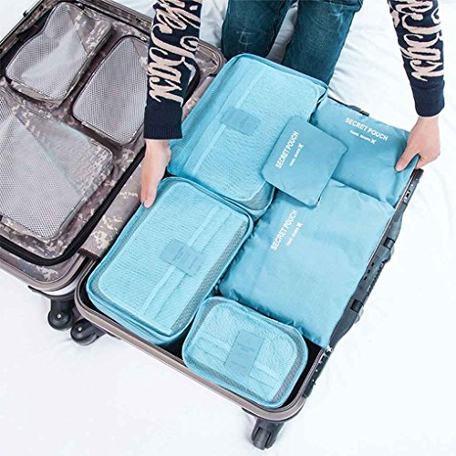 6Pcs/Set Square Travel Luggage Storage Bags Clothes Organizer Pouch Case Clothes Container MuLuo by MuLuo