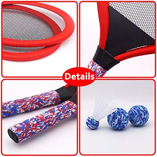 Red YIMORE Kids Racket Set of 5 with Badminton Tennis Balls Toys Gift for Boys Girls