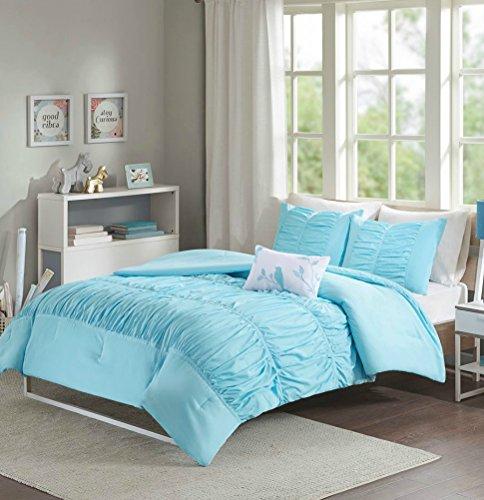 Girls Teens Bedding Comforter Set Light Baby Blue Aqua Ruched KING CALIFORNIA KING CAL Bedspread + 2 Shams + Charming Bird Pillow + H.S. Sleep Mask For Teens Girl Master - Tiffany Co London And