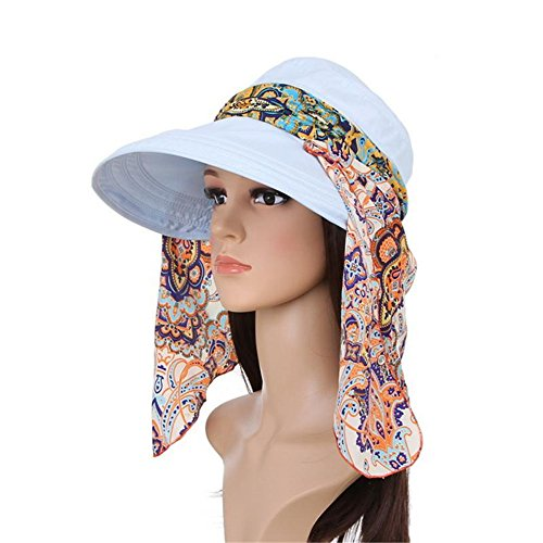 Women's Summer Beach Hat Canal Blue Cotton Anti-UV UPF 50+ Sun Shade - Shades Canal In