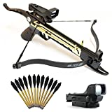 Crossbow Gun with Scope - SairusPlay MINI 80 LB SELF COCKING PISTOL GUN CROSSBOW W/ 15 ALUMINUM BOLTS & RED DOT SCOPE