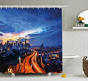 Landscape Shower Curtain By Ambesonne Indian Scenery Kuala Lumpur Cityscape Image Skyscrapers Highways Artwork Photo Fabric Bathroom Decor Set With Hooks