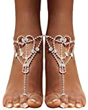 2 Pcs Barefoot Sandals with Rhinestone Toe Ring Beach Wedding Foot Jewelry Anklet Chain,Silver_Style 5