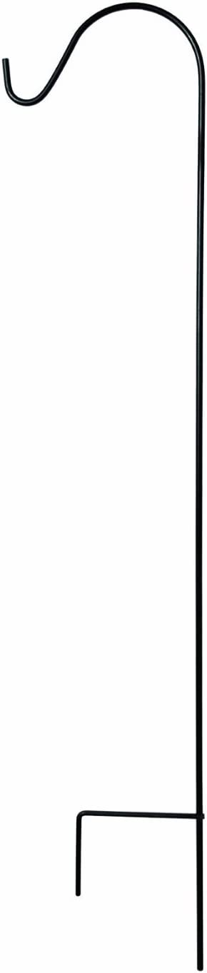 Ashman Black Shepherd Hook 65 Inch, 1/2 Inch Diameter, Super Strong, Rust Resistant Steel Hook For Hanging Plant Baskets, Bird Feeders, Lanterns, Solar Lights, Mason Jars, Use at Weddings & More