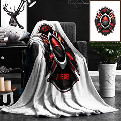 "Nalagoo Unique Custom Flannel Blankets City Fire Department Organization Realistic Logo Emblem Design With Crossed Axes And Pumps R Super Soft Blanketry for Bed Couch, Throw Blanket 40"" x 60"" by Nalagoo"