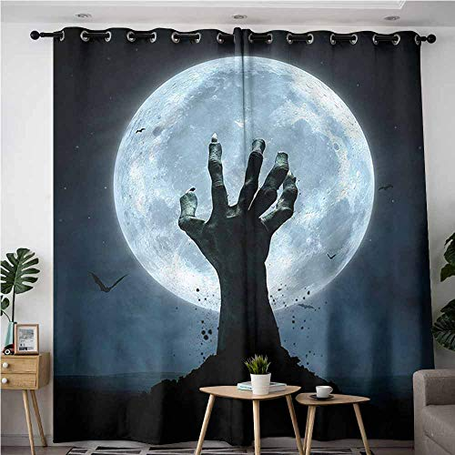 XXANS Extra Wide Patio Door Curtain,Halloween,Zombie Grave,Darkening Thermal Insulated Blackout,W84x84L -