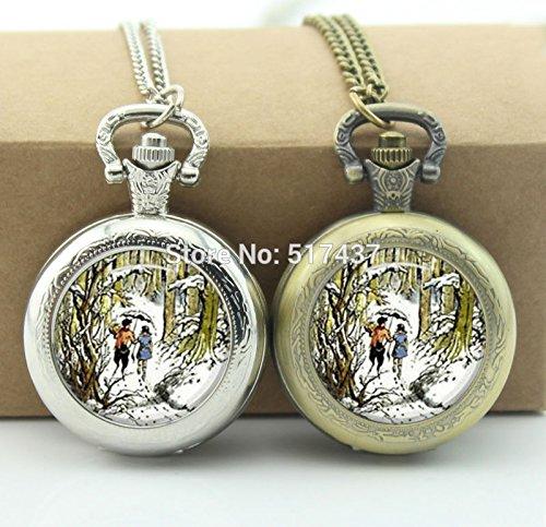 Gimax Chronicles of Narnia Pocket Watch Mini Glass Locket Necklace Vintage Bronze Pocket Watch Necklace - (Metal Color: Antique Bronze - Glass Antique Locket