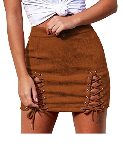 Aliwendy Women Sexy Criss Cross Tight Bodycon High Waist Faux Suede Stretch Mini Skirt