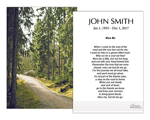 Funeral Memorial Prayer Cards (50 Cards) FPC1186EN The Path (Custom Printed - Select Desired Prayer) ()