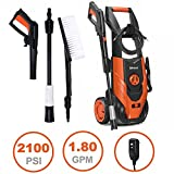 Airous 2018 Updated 2100 PSI 1.8 GPM Electric Pressure Washer, Power Washer with Adjustable Spray Nozzle, Extra Turbo Nozzle, Onboard Detergent Tank,Cleaning brush