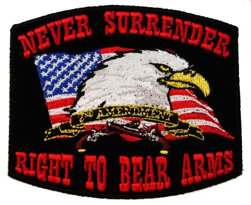 2nd Amendment Never Surrender Right to Bear Arms Eagle American Flag Embroidered Shoulder Patch D2 (Bear Flag Patch)