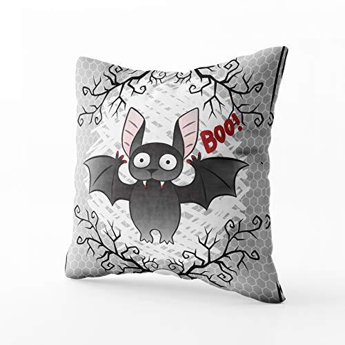 (Capsceoll Sofa Throw Pillows Cute Bat Happy Halloween Greeting Card Skull Sofa Throw Pillows Case 18X18Inch,Home Decoration Pillowcase Cushion for Sofa)