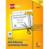 "Avery Self-Adhesive Laminating Sheets, 9"" x 12"", Permanent Adhesive, 50 Clear Laminating Sheets (73601)"