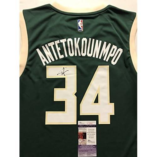 03c744bc5 Autographed Signed Giannis Antetokounmpo Milwaukee Bucks Green Size L  Basketball Jersey JSA COA