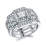 Newshe 3pcs Princess White Cz 925 Sterling Silver Wedding Ring Set Engagement Ring Set Size 5-12