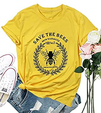 FLOYO Save The Bees T Shirt Women Save The Humanity Letters Shirt Short Sleeve Bee Graphic Vintage Tees Top - Yellow - Small