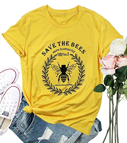 Save The Bees T Shirt Women Save The Humanity Letters Shirt Short Sleeve Bee Graphic Vintage Tees Top Size L (Yellow)