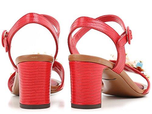 CR0163AD36880303 Cuero Rojo Sandalias Dolce Mujer E Gabbana txaaqC