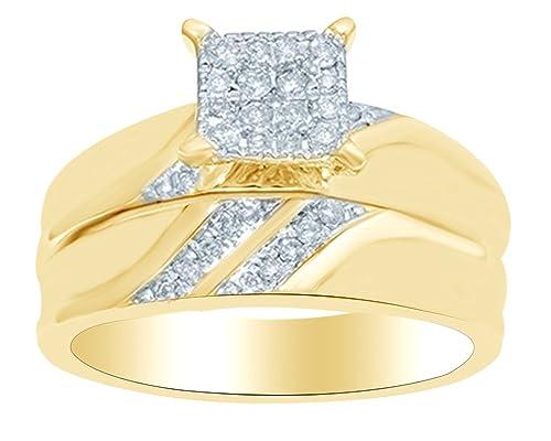 Juego de anillos de boda con forma de princesa (0,30 quilates) en oro amarillo macizo de 10 quilates YG-L 1/2: Amazon.es: Joyería