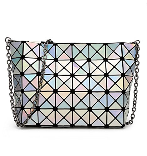 Katoony Girls PU Leather Geometric Metal Chain Shoulder Handbag Casual Crossbody Messenger Bag - Checked Pocket Pattern Square