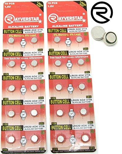Rayverstar LR626 AG4 1.5V Alkaline Batteries (20) Fits: 66, 606, 626, 376, 177, 377, 377a (Full List Below)